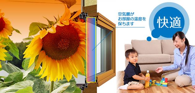 二重窓の空気層が、暑さ・寒さを抑えてお部屋を快適に保ちます